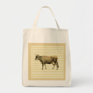 Country Tan Cow Beige Stripe Gingham Check Design Grocery Tote Bag