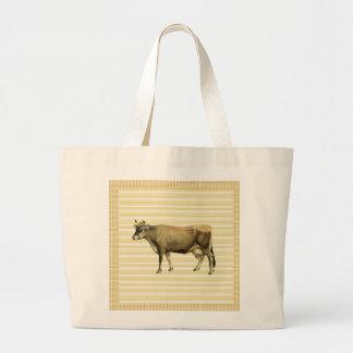 Country Tan Cow Beige Stripe Gingham Check Design Jumbo Tote Bag