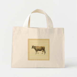 Country Tan Cow Beige Stripe Gingham Check Design Mini Tote Bag