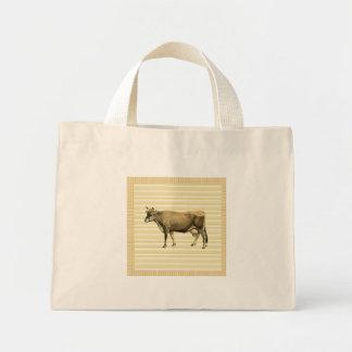 Country Tan Cow Beige Stripe Gingham Check Design Mini Tote Bag