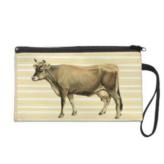 Country Tan Cow Beige Stripe Gingham Check Design Wristlet Clutches