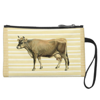 Country Tan Cow Beige Stripe Gingham Check Design Wristlets