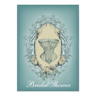 country Teal Corset Lily vintage Bridal Shower Card