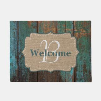 Country Teal Faux Wood & Burlap Monogram Welcome Doormat
