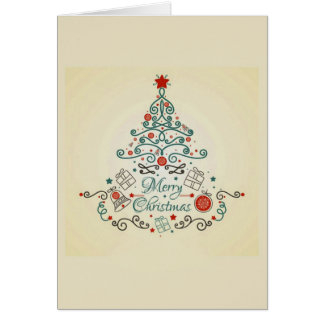 Country tree with decorations on Christmas card