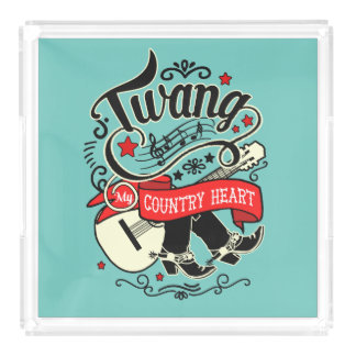 Country Twang Red/Black ID464 Acrylic Tray