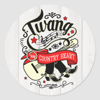 Country Twang Red/Black ID464 Classic Round Sticker