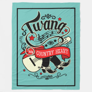Country Twang Red/Black ID464 Fleece Blanket