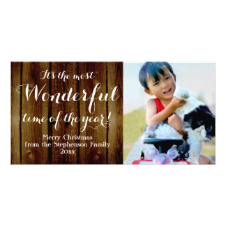 Country Vintage Christmas Most Wonderful Time Photo Card