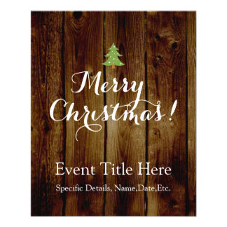 Country Vintage Wood Merry Christmas 11.5 Cm X 14 Cm Flyer