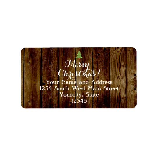 Country Vintage Wood Merry Christmas Address Label