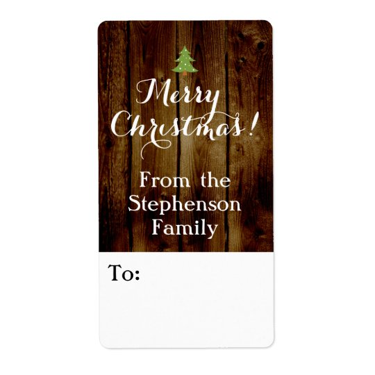 Country Vintage Wood Merry Christmas Gift Tag Shipping Label