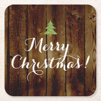 Country Vintage Wood Merry Christmas Square Paper Coaster