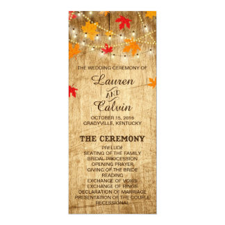 Country Wedding Ceremony Program for Fall wedding