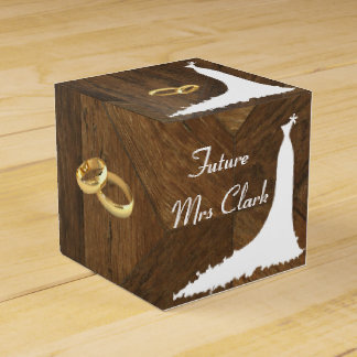 Country Wedding Dress and Rings Favor Boxes