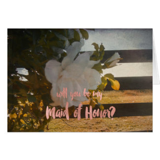 Country Wedding Romantic Rose Maid of Honor Card