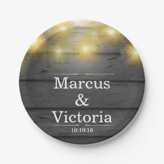 Country Wedding Rustic Weatherboards Anniversary Paper Plate