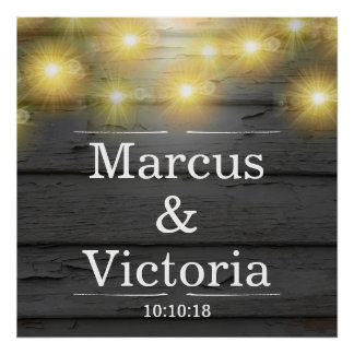 Country Wedding Rustic Weatherboards Anniversary Poster