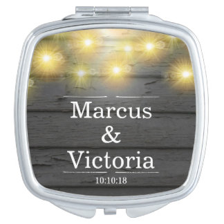 Country Wedding Rustic Weatherboards Anniversary Travel Mirror