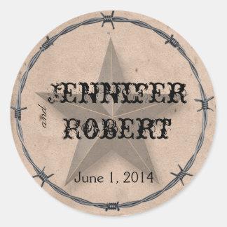 Country Western Barbed Wire Envelope Seal Round Sticker