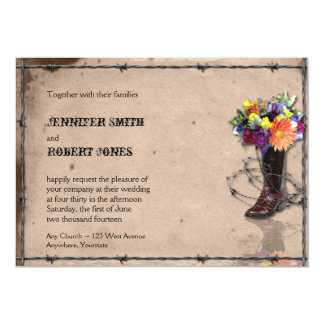 "Country Western Barbed Wire Invitation 5"" X 7"" Invitation Card"