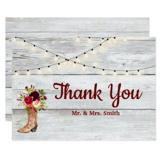 Country Western Boot Boho Rustic Marsala Thank You Card