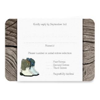 Country Western Boots Wedding Entree RSVP 9 Cm X 13 Cm Invitation Card
