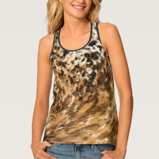 Country Western Chic Swirl Cow Hide Patterns Tank Top