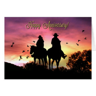 Country Western Cowboy Anniversary Card