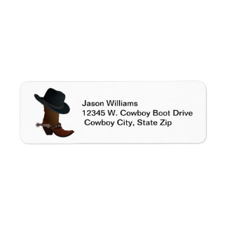 Country Western Cowboy Boot Hat Spurs Personalized Return Address Label