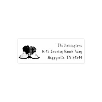 Country Western Cowboy Boots Art Return Address Self-inking Stamp