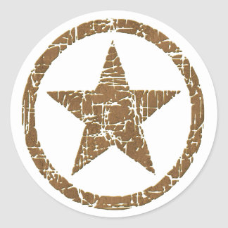Country Western Cracked Star Badge D1 Stickers