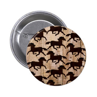 Country Western Horses on Barn Wood Cowboy Gifts Pin