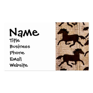 Country Western Horses on Barn Wood Cowboy Gifts Business Card Templates