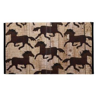 Country Western Horses on Barn Wood Cowboy Gifts iPad Folio Case