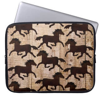Country Western Horses on Barn Wood Cowboy Gifts Computer Sleeves