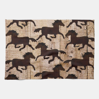 Country Western Horses on Barn Wood Cowboy Gifts Tea Towel
