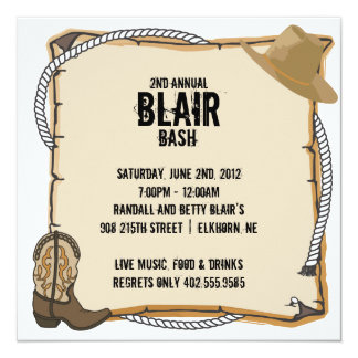 Country Western Party Invite