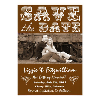 Country Western Photo Save The Date Card Custom Announcements
