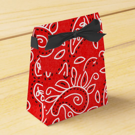 Country Western red bandanna pattern party box Favour Boxes