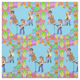 Country Western Singing Cowgirl Band Fabric