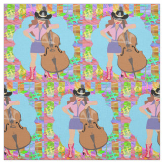 Country Western Singing Cowgirl Bass Guitar Fiddle Fabric