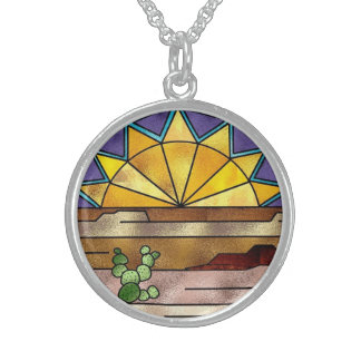 Country Western Sunset Stained Glass design Beauti Pendants
