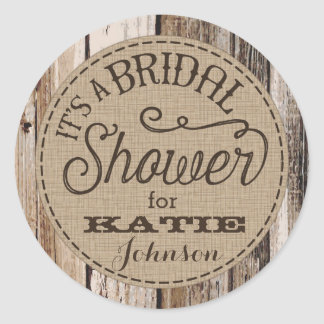 Country Western Wood Rustic Bridal Shower Label Round Sticker