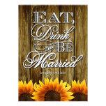 Country Western Wood Sunflower Wedding Invitations