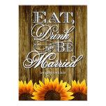 Country Western Wood Sunflower Wedding Invitations 13 Cm X 18 Cm Invitation Card
