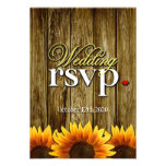 Country Western Wood Sunflower Wedding RSVP Cards Personalised Invite