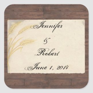 Country Wheat Grass on Parchment Envelope Seal Square Sticker