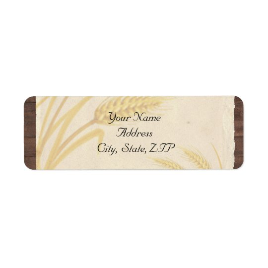 Country Wheat Grass on Parchment Return Address Label