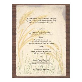 Country Wheat Grass on Parchment Wedding Menu 21.5 Cm X 28 Cm Flyer